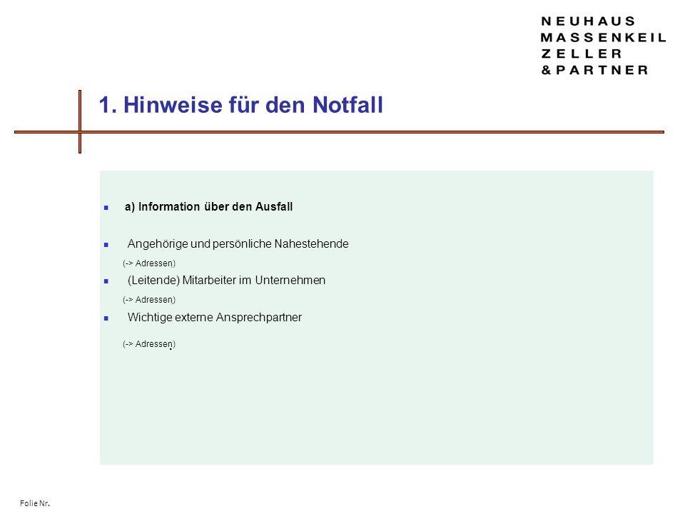 Folie Nr. 1. Hinweise für den Notfall a) Information über den Ausfall Angehörige und persönliche Nahestehende (-> Adressen) (Leitende) Mitarbeiter im