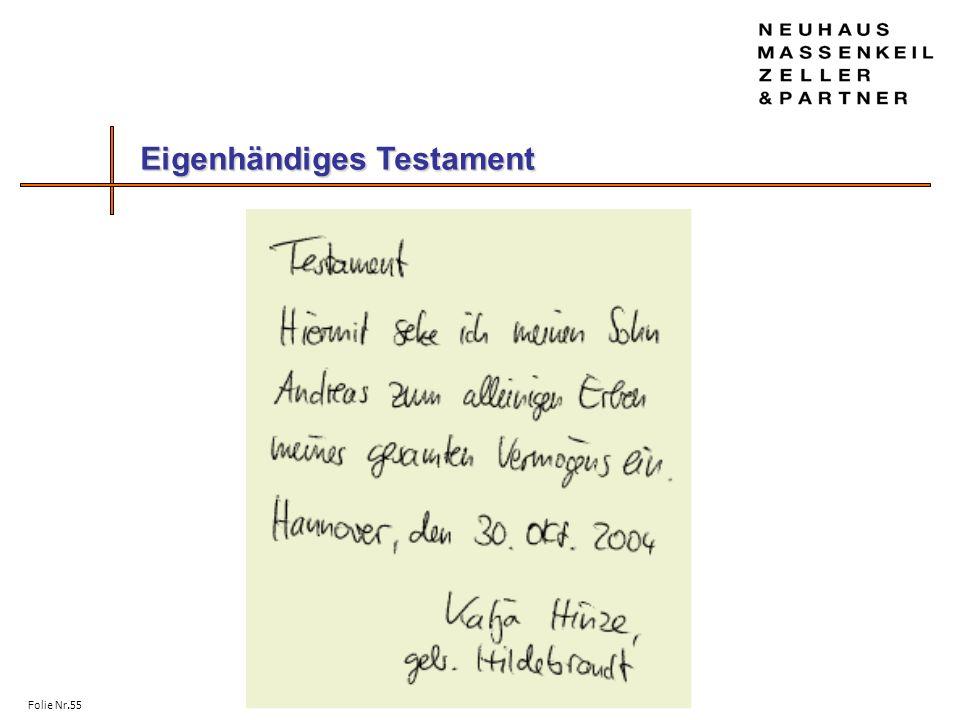 Folie Nr.55 Eigenhändiges Testament Eigenhändiges Testament