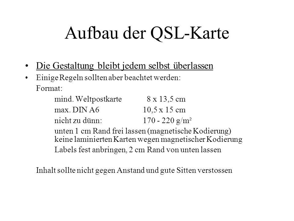 Aufbau der QSL-Karte Die Gestaltung bleibt jedem selbst überlassen Einige Regeln sollten aber beachtet werden: Format: mind. Weltpostkarte 8 x 13,5 cm
