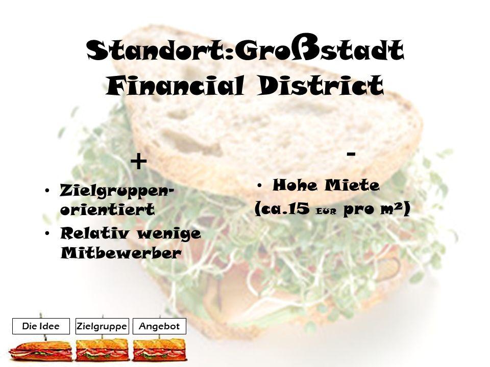 Standort:Gro ß stadt Financial District + Zielgruppen- orientiert Relativ wenige Mitbewerber - Hohe Miete pro m²) (ca.15 EUR pro m²) AngebotZielgruppe