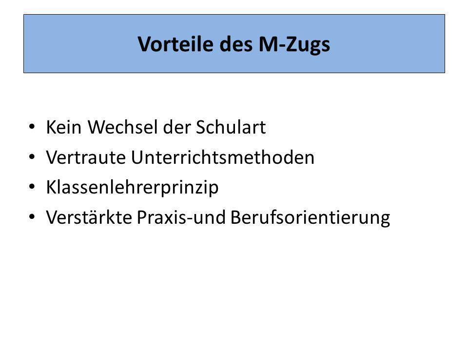 Vorteile des M-Zugs Kein Wechsel der Schulart Vertraute Unterrichtsmethoden Klassenlehrerprinzip Verstärkte Praxis-und Berufsorientierung