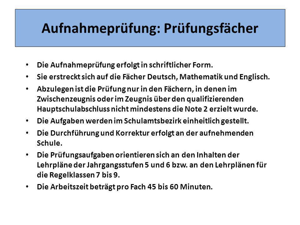 Aufnahmeprüfung: Prüfungsfächer Die Aufnahmeprüfung erfolgt in schriftlicher Form. Sie erstreckt sich auf die Fächer Deutsch, Mathematik und Englisch.