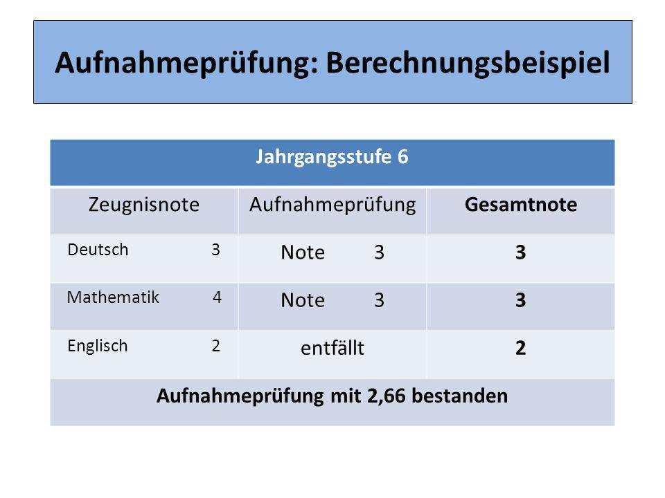 Aufnahmeprüfung: Berechnungsbeispiel Jahrgangsstufe 6 ZeugnisnoteAufnahmeprüfungGesamtnote Deutsch 3 Note 33 Mathematik 4 Note 33 Englisch 2 entfällt2
