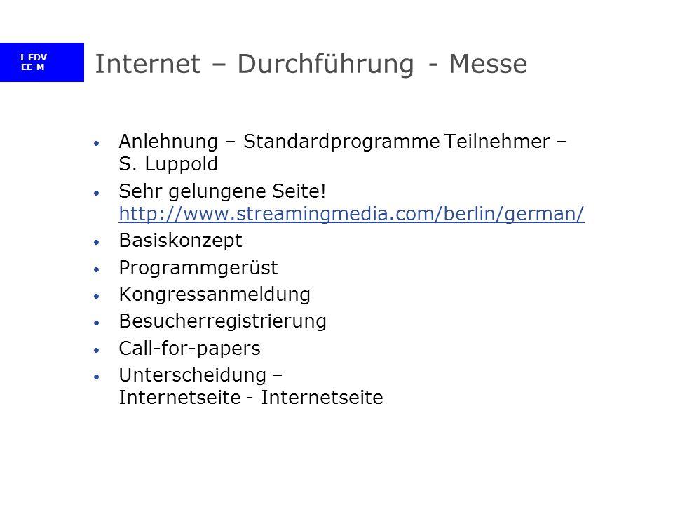 1 EDV EE-M Internet – Durchführung - Messe Anlehnung – Standardprogramme Teilnehmer – S.