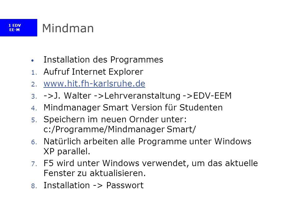 1 EDV EE-M Mindman Installation des Programmes 1. Aufruf Internet Explorer 2.