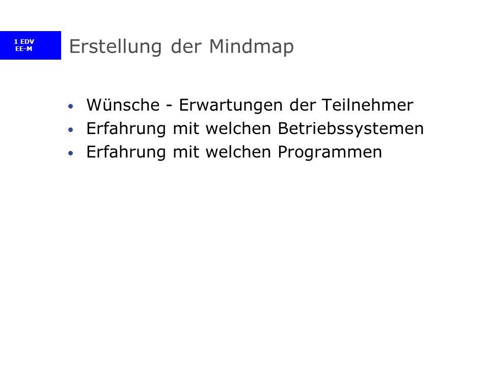 1 EDV EE-M Erstellung der Mindmap Wünsche - Erwartungen der Teilnehmer Erfahrung mit welchen Betriebssystemen Erfahrung mit welchen Programmen