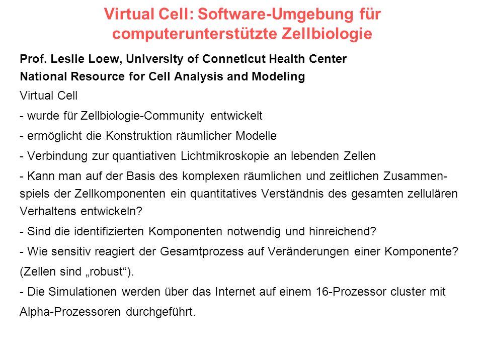 Virtual Cell: Software-Umgebung für computerunterstützte Zellbiologie Prof. Leslie Loew, University of Conneticut Health Center National Resource for