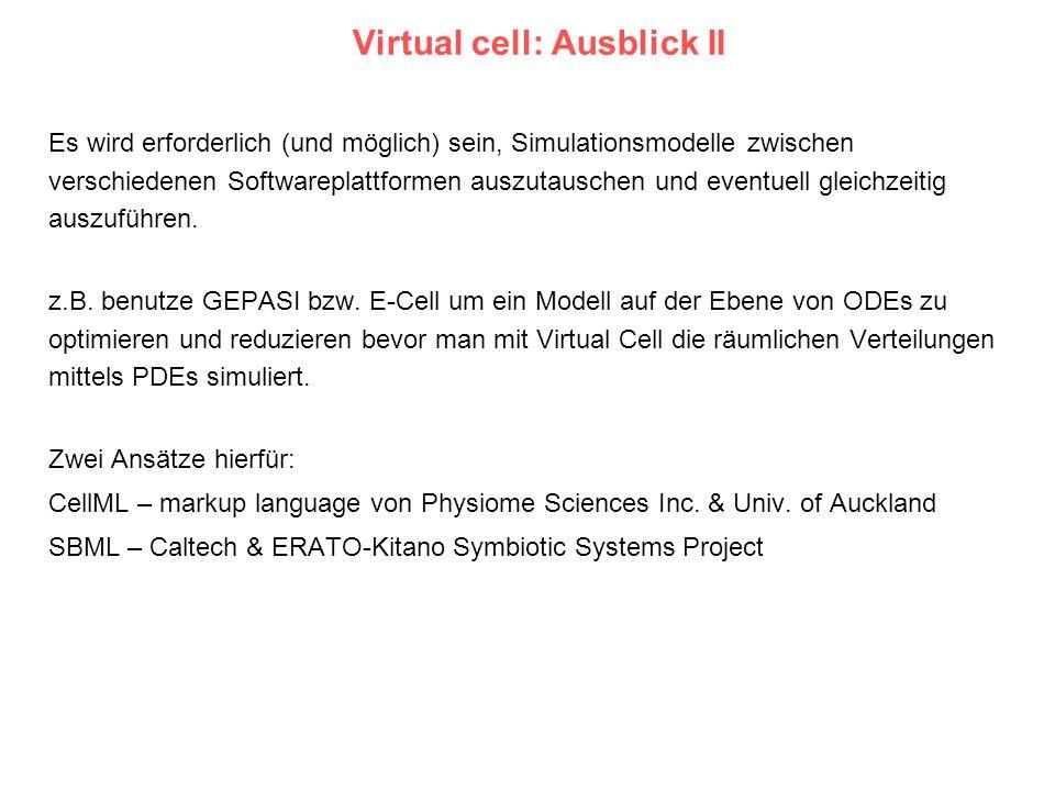 Virtual cell: Ausblick II Es wird erforderlich (und möglich) sein, Simulationsmodelle zwischen verschiedenen Softwareplattformen auszutauschen und eve