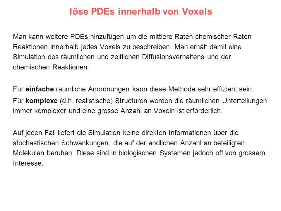 löse PDEs innerhalb von Voxels Man kann weitere PDEs hinzufügen um die mittlere Raten chemischer Raten Reaktionen innerhalb jedes Voxels zu beschreibe
