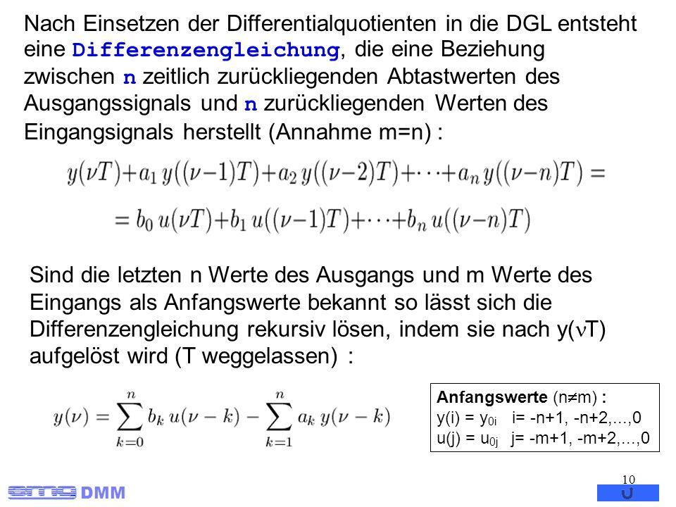 DMM 10 Nach Einsetzen der Differentialquotienten in die DGL entsteht eine Differenzengleichung, die eine Beziehung zwischen n zeitlich zurückliegenden