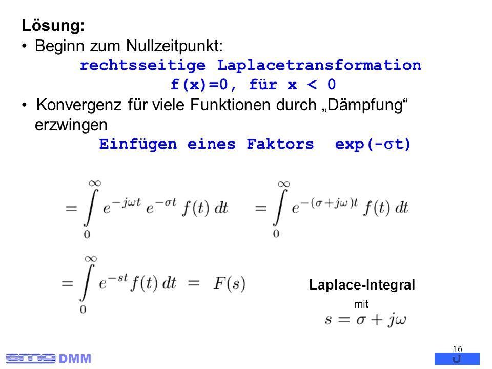 DMM 16 Lösung: Beginn zum Nullzeitpunkt: rechtsseitige Laplacetransformation f(x)=0, für x < 0 Konvergenz für viele Funktionen durch Dämpfung erzwinge