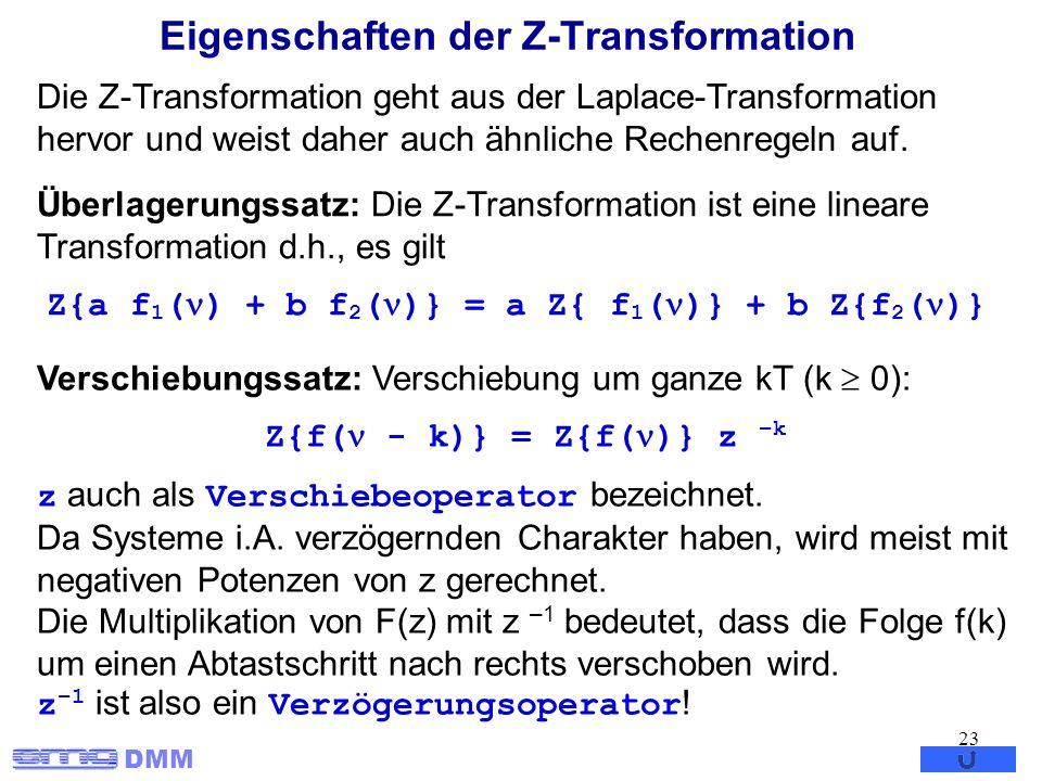 DMM 23 Eigenschaften der Z-Transformation Die Z-Transformation geht aus der Laplace-Transformation hervor und weist daher auch ähnliche Rechenregeln a