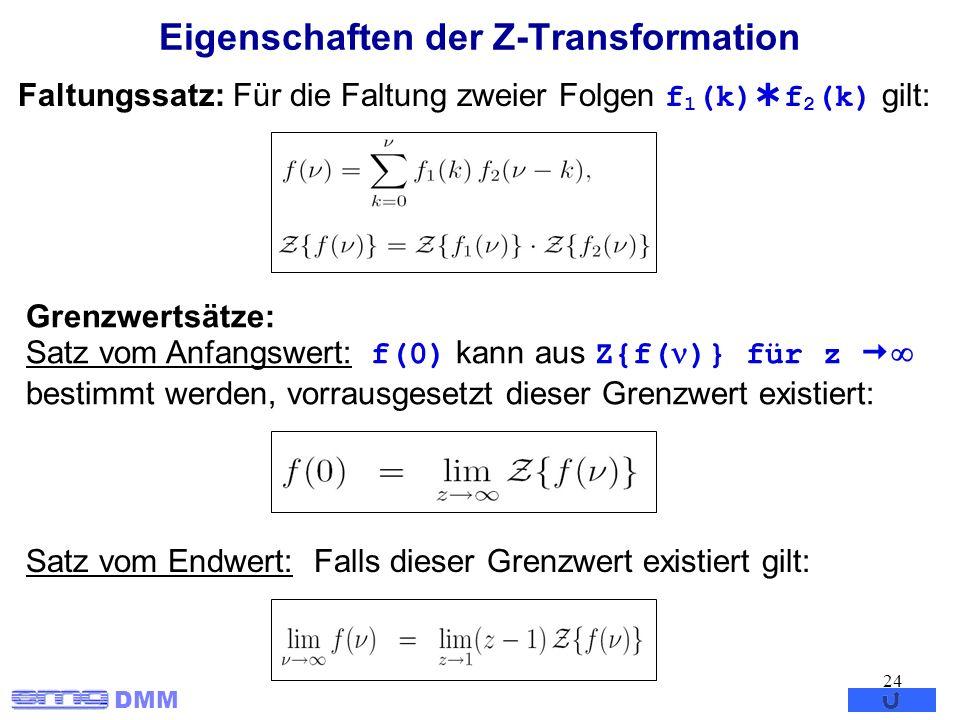 DMM 24 Eigenschaften der Z-Transformation Faltungssatz: Für die Faltung zweier Folgen f 1 (k) f 2 (k) gilt: Grenzwertsätze: Satz vom Anfangswert: f(0)
