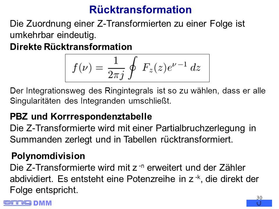 DMM 30 Rücktransformation Der Integrationsweg des Ringintegrals ist so zu wählen, dass er alle Singularitäten des Integranden umschließt. Die Zuordnun