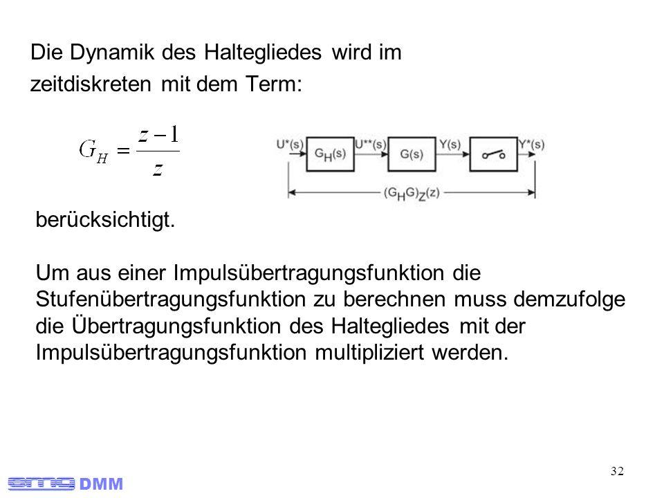 DMM 32 Die Dynamik des Haltegliedes wird im zeitdiskreten mit dem Term: berücksichtigt. Um aus einer Impulsübertragungsfunktion die Stufenübertragungs
