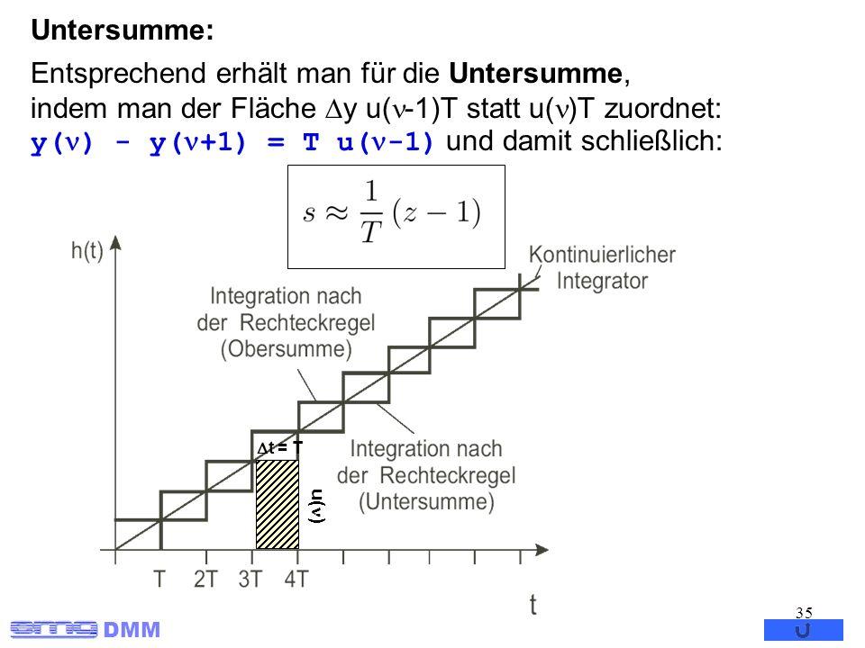 DMM 35 Entsprechend erhält man für die Untersumme, indem man der Fläche y u( -1)T statt u( )T zuordnet: y( ) - y( +1) = T u( -1) und damit schließlich