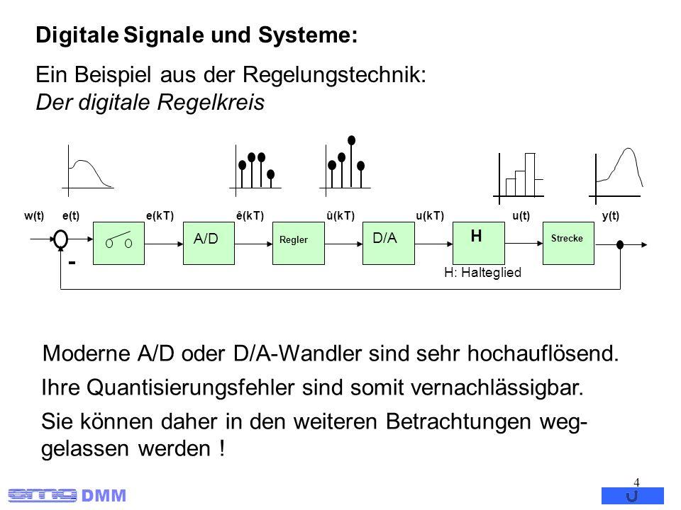 DMM 4 Digitale Signale und Systeme: Ein Beispiel aus der Regelungstechnik: Der digitale Regelkreis A/D Regler D/A H Strecke w(t)e(t)ê(kT)e(kT)û(kT)u(k