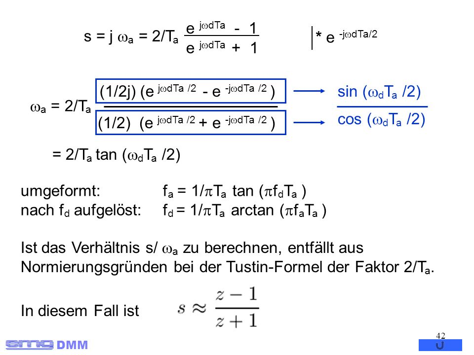 DMM 42 a = 2/T a (1/2j) (e j dTa /2 - e -j dTa /2 ) (1/2) (e j dTa /2 + e -j dTa /2 ) sin ( d T a /2) cos ( d T a /2) = 2/T a tan ( d T a /2) Ist das