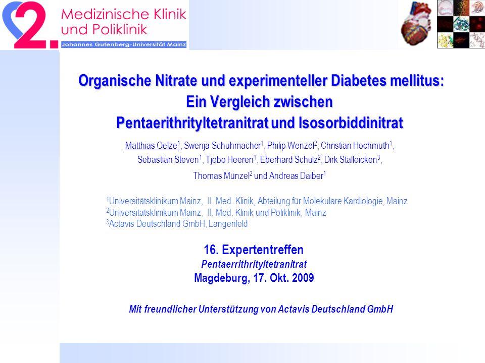 Hintergrund I: PETN induziert keine Nitrat- und cross-Toleranz Wenzel, Oelze et al,.