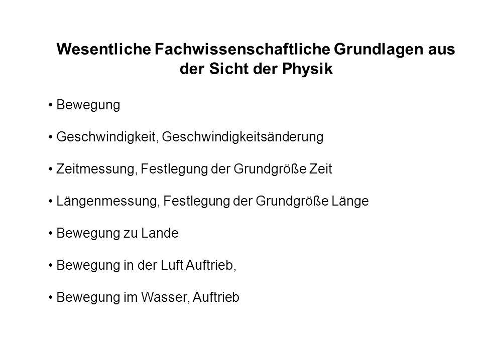 Wesentliche Fachwissenschaftliche Grundlagen aus der Sicht der Physik Bewegung Geschwindigkeit, Geschwindigkeitsänderung Zeitmessung, Festlegung der G