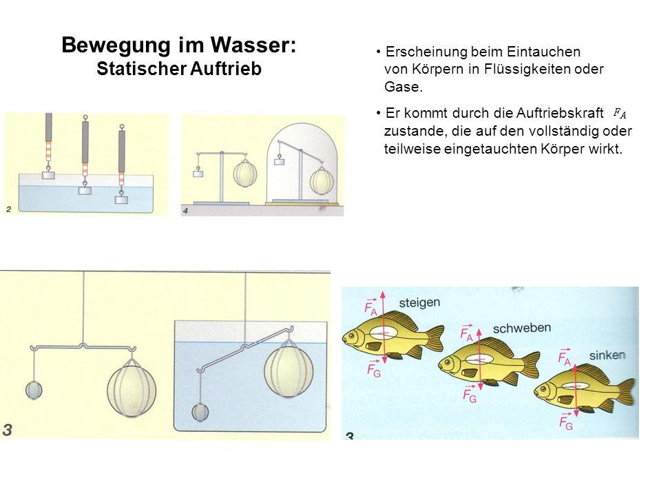 Bewegung im Wasser: Statischer Auftrieb Erscheinung beim Eintauchen von Körpern in Flüssigkeiten oder Gase. Er kommt durch die Auftriebskraft zustande