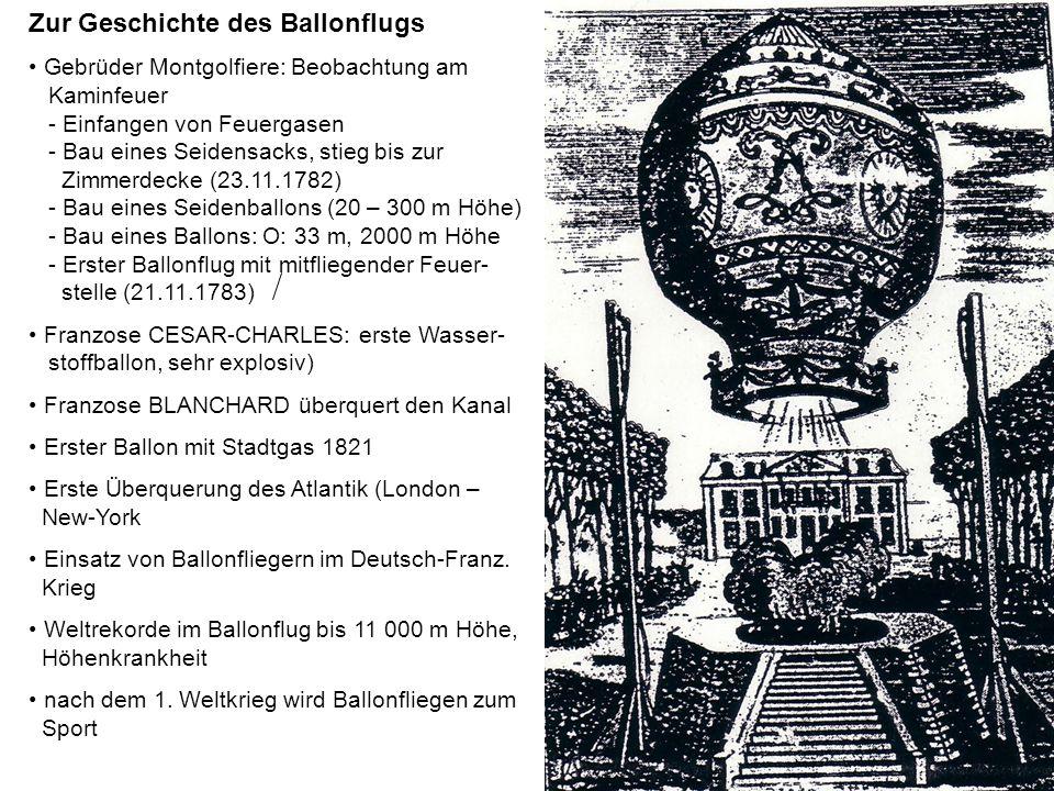 Zur Geschichte des Ballonflugs Gebrüder Montgolfiere: Beobachtung am Kaminfeuer - Einfangen von Feuergasen - Bau eines Seidensacks, stieg bis zur Zimm