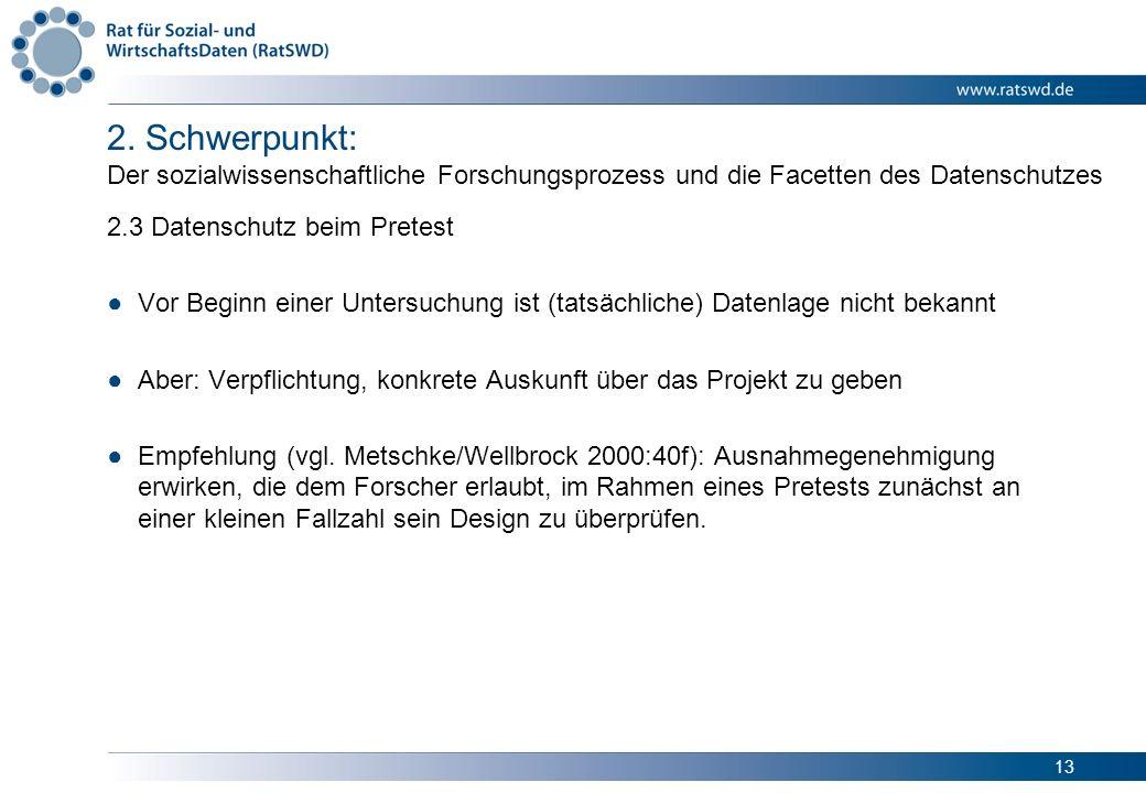 13 2. Schwerpunkt: Der sozialwissenschaftliche Forschungsprozess und die Facetten des Datenschutzes 2.3 Datenschutz beim Pretest Vor Beginn einer Unte