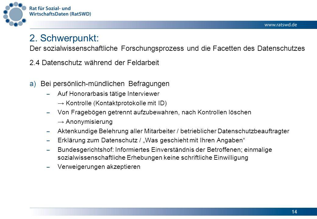 14 2. Schwerpunkt: Der sozialwissenschaftliche Forschungsprozess und die Facetten des Datenschutzes 2.4 Datenschutz während der Feldarbeit a)Bei persö