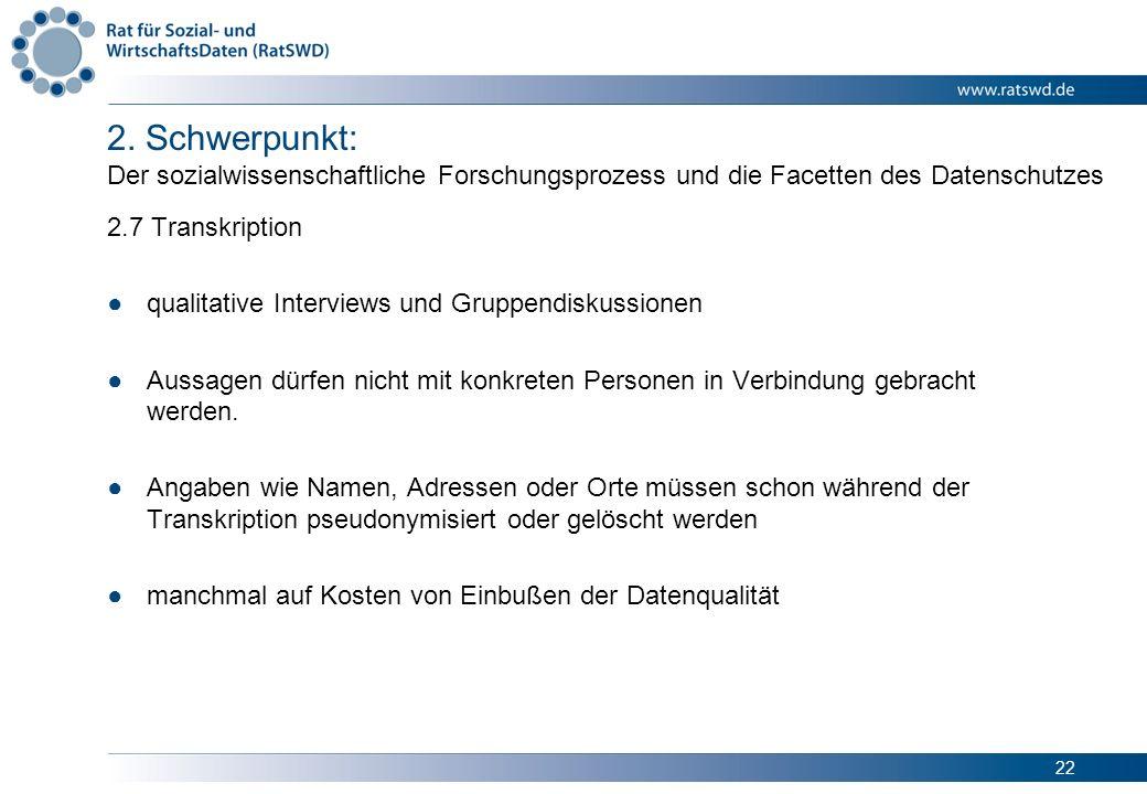22 2. Schwerpunkt: Der sozialwissenschaftliche Forschungsprozess und die Facetten des Datenschutzes 2.7 Transkription qualitative Interviews und Grupp