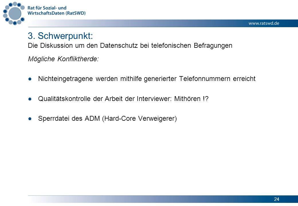 24 3. Schwerpunkt: Die Diskussion um den Datenschutz bei telefonischen Befragungen Mögliche Konfliktherde: Nichteingetragene werden mithilfe generiert