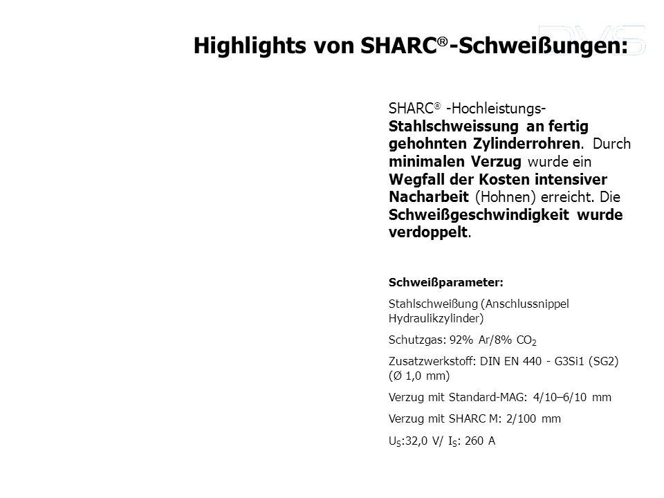 SHARC -Hochleistungs- Stahlschweissung an fertig gehohnten Zylinderrohren. Durch minimalen Verzug wurde ein Wegfall der Kosten intensiver Nacharbeit (