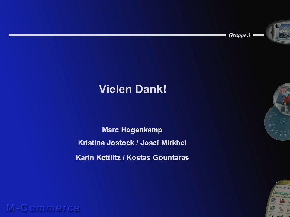 Gruppe 3 Vielen Dank! Marc Hogenkamp Kristina Jostock / Josef Mirkhel Karin Kettlitz / Kostas Gountaras