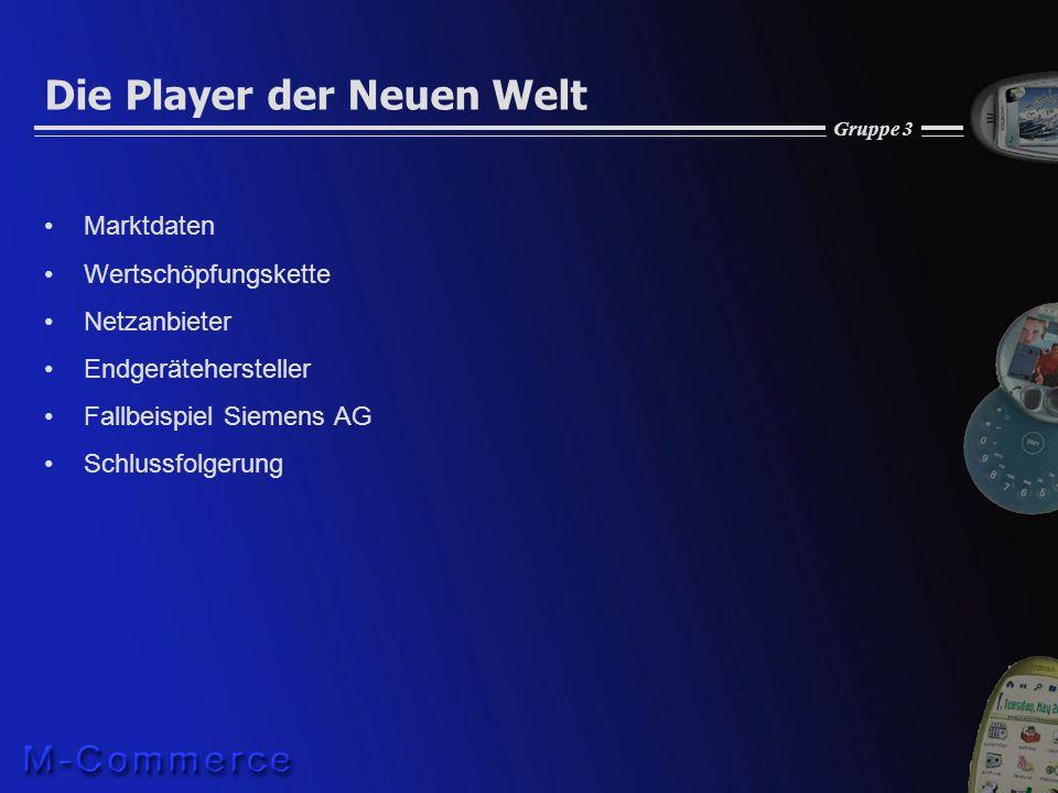 Gruppe 3 Die Player der Neuen Welt Marktdaten Wertschöpfungskette Netzanbieter Endgerätehersteller Fallbeispiel Siemens AG Schlussfolgerung