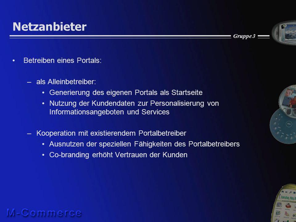 Gruppe 3 Netzanbieter Betreiben eines Portals: –als Alleinbetreiber: Generierung des eigenen Portals als Startseite Nutzung der Kundendaten zur Person
