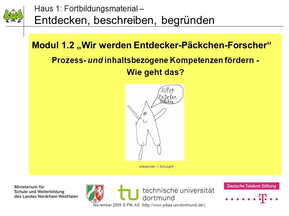 November 2009 © PIK AS (http://www.pikas.uni-dortmund.de/) 1 Haus 1: Fortbildungsmaterial – Entdecken, beschreiben, begründen Modul 1.2 Wir werden Ent