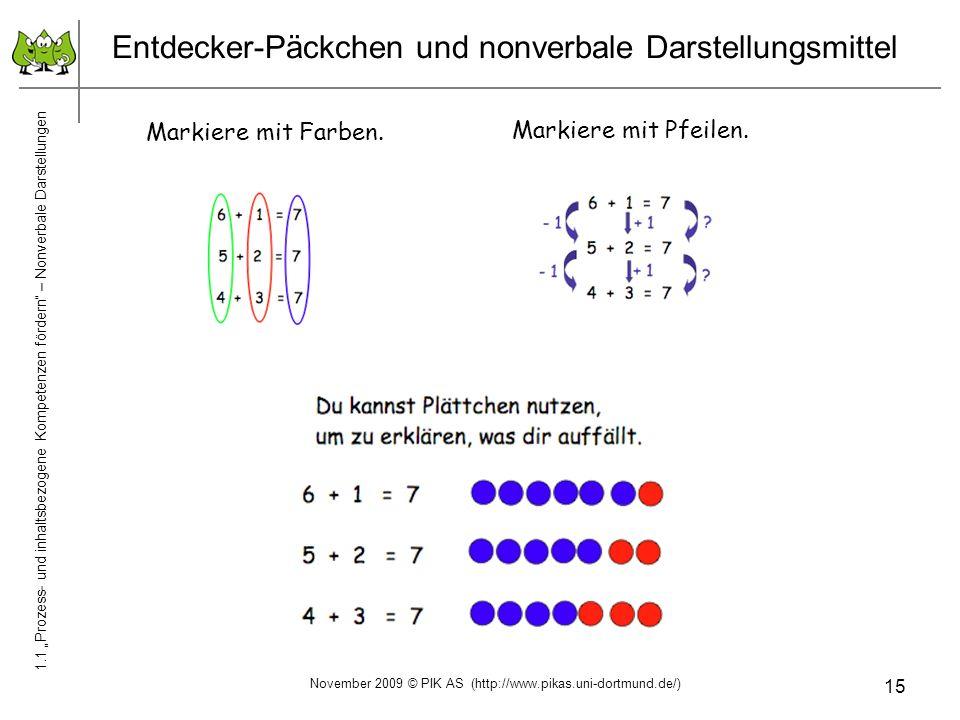 15 Entdecker-Päckchen und nonverbale Darstellungsmittel Markiere mit Farben. Markiere mit Pfeilen. 1.1 Prozess- und inhaltsbezogene Kompetenzen förder