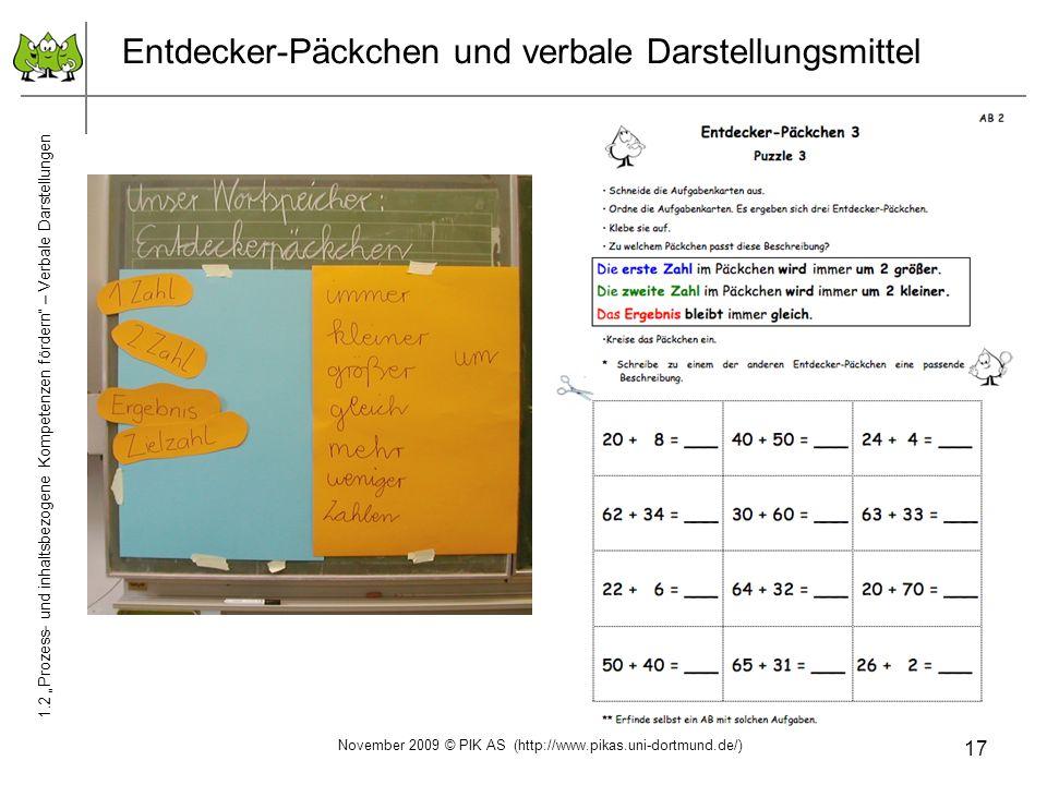 17 Entdecker-Päckchen und verbale Darstellungsmittel 1.2 Prozess- und inhaltsbezogene Kompetenzen fördern – Verbale Darstellungen November 2009 © PIK