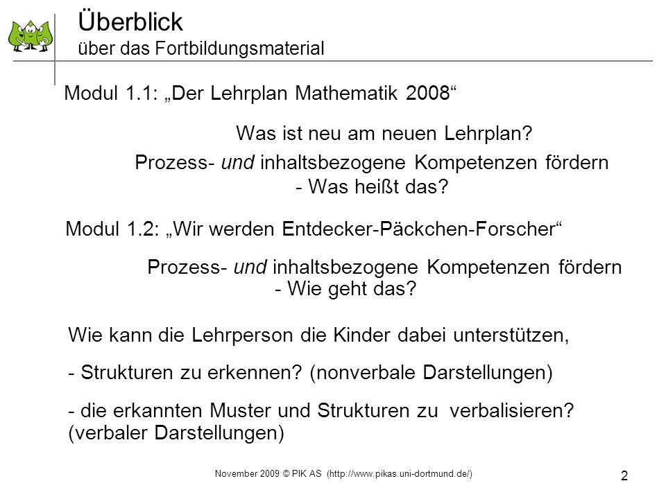 2 Überblick über das Fortbildungsmaterial Modul 1.1: Der Lehrplan Mathematik 2008 Was ist neu am neuen Lehrplan? Prozess- und inhaltsbezogene Kompeten