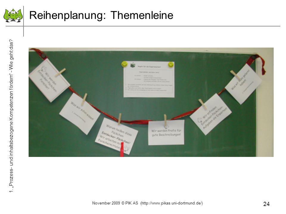 24 Reihenplanung: Themenleine 1. Prozess- und inhaltsbezogene Kompetenzen fördern - Wie geht das? November 2009 © PIK AS (http://www.pikas.uni-dortmun