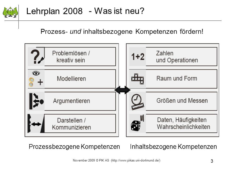 3 Lehrplan 2008 Prozess- und inhaltsbezogene Kompetenzen fördern! Prozessbezogene Kompetenzen Inhaltsbezogene Kompetenzen - Was ist neu? November 2009