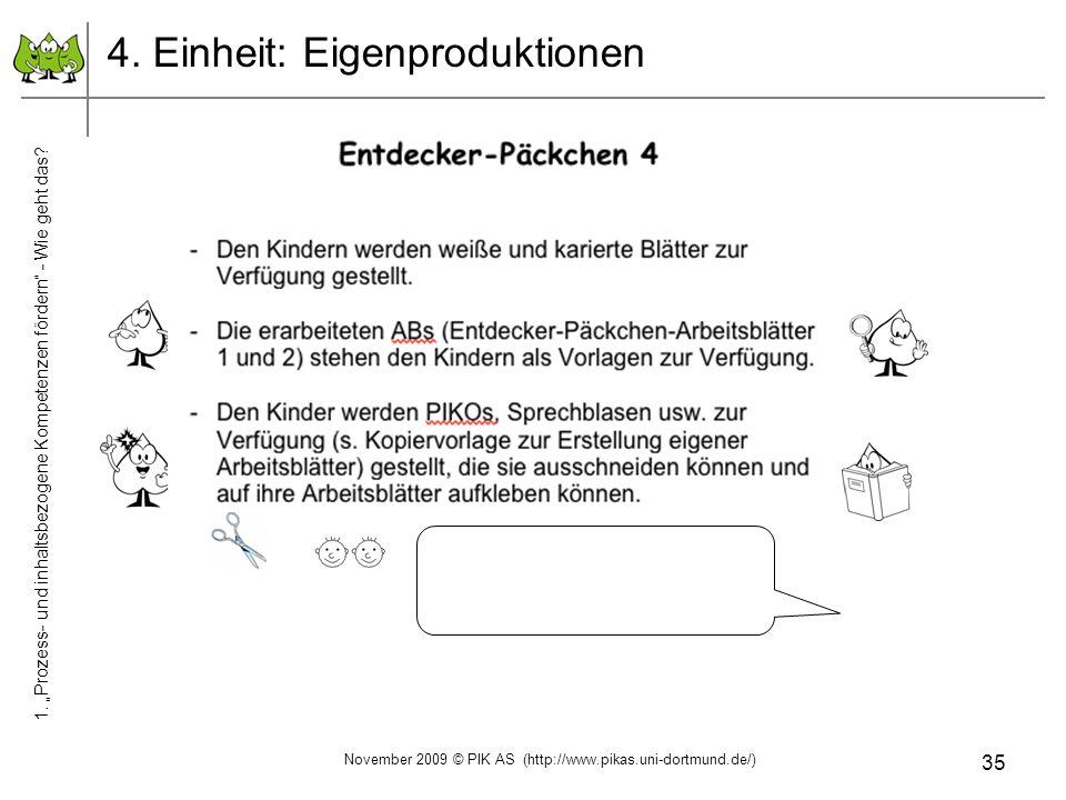 35 4. Einheit: Eigenproduktionen November 2009 © PIK AS (http://www.pikas.uni-dortmund.de/) 1. Prozess- und inhaltsbezogene Kompetenzen fördern - Wie