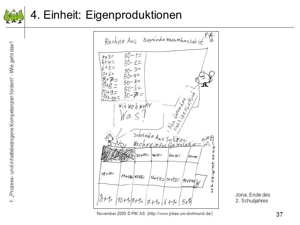 37 4. Einheit: Eigenproduktionen Jona, Ende des 2. Schuljahres November 2009 © PIK AS (http://www.pikas.uni-dortmund.de/) 1. Prozess- und inhaltsbezog