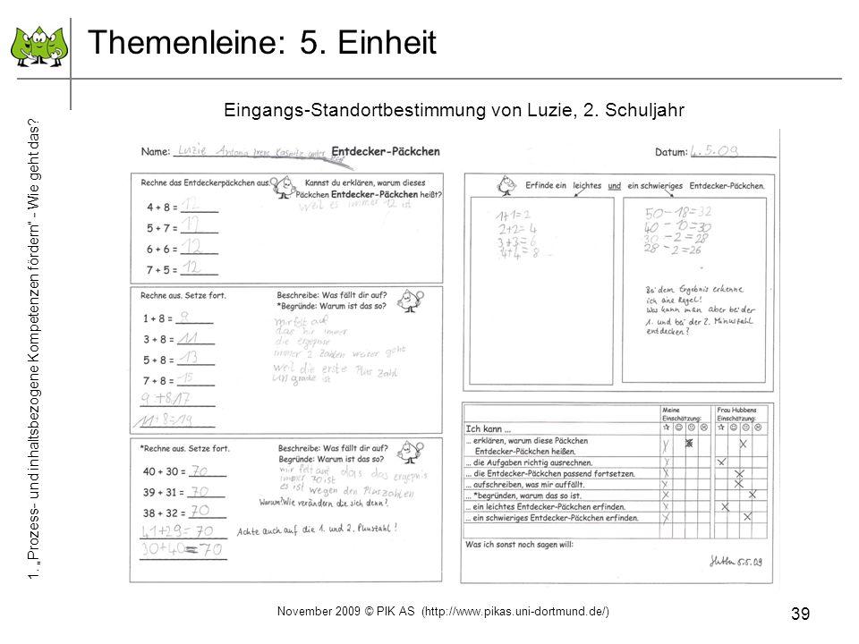 39 Themenleine: 5. Einheit Eingangs-Standortbestimmung von Luzie, 2. Schuljahr November 2009 © PIK AS (http://www.pikas.uni-dortmund.de/) 1. Prozess-