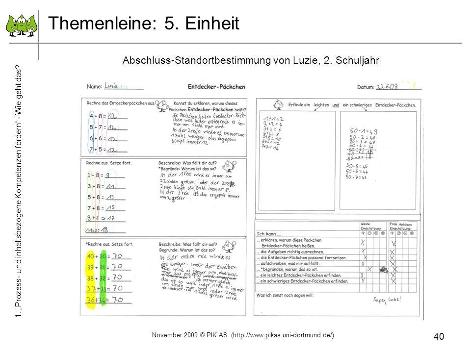 40 Themenleine: 5. Einheit Abschluss-Standortbestimmung von Luzie, 2. Schuljahr November 2009 © PIK AS (http://www.pikas.uni-dortmund.de/) 1. Prozess-