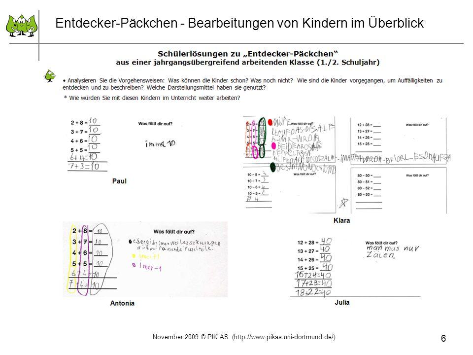 6 Entdecker-Päckchen - Bearbeitungen von Kindern im Überblick November 2009 © PIK AS (http://www.pikas.uni-dortmund.de/)
