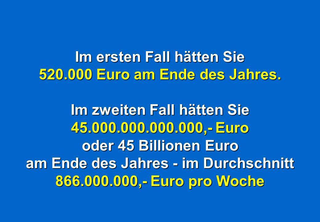 Im ersten Fall hätten Sie 520.000 Euro am Ende des Jahres.