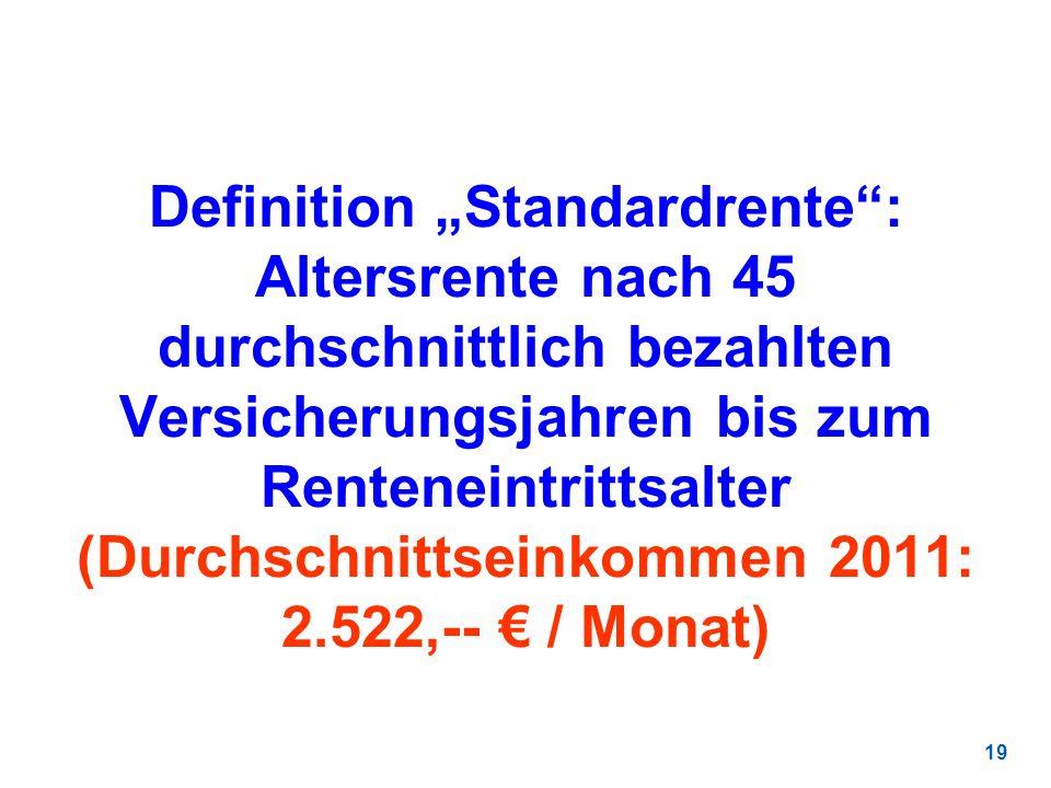 19 Definition Standardrente: Altersrente nach 45 durchschnittlich bezahlten Versicherungsjahren bis zum Renteneintrittsalter (Durchschnittseinkommen 2