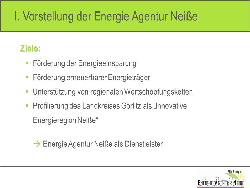 I. Vorstellung der Energie Agentur Neiße Ziele: Förderung der Energieeinsparung Förderung erneuerbarer Energieträger Unterstützung von regionalen Wert