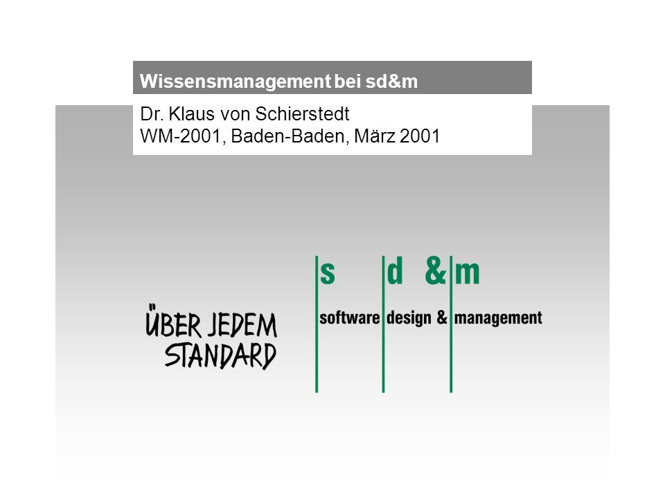 Dr. Klaus von Schierstedt WM-2001, Baden-Baden, März 2001 Wissensmanagement bei sd&m