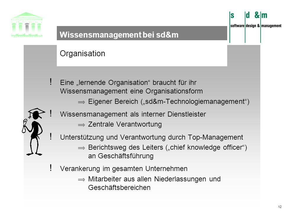 12 Organisation Wissensmanagement bei sd&m ! Eine lernende Organisation braucht für ihr Wissensmanagement eine Organisationsform Eigener Bereich (sd&m